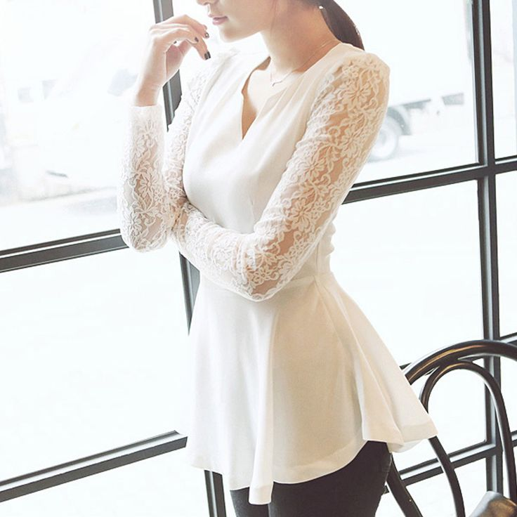 Aliexpress.com : Buy Korean Fashion Women Flared Peplum Sexy V neck Shirts HOT Style Lace Long Sleeve Blouse White Black  #L0341597 from Rel...