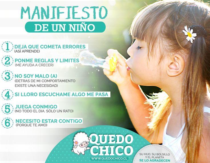 En #quedochico te ayudamos a ser mejor tu rol de papá o mamá. Este día te brindamos 6 manifiesto de los niños a sus padres.