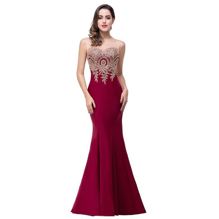 Real Photos Robe De Soiree 2017 Long Formal Burgundy Mermaid Prom Dresses Sexy Party Evening Dresses Vestido De Festa