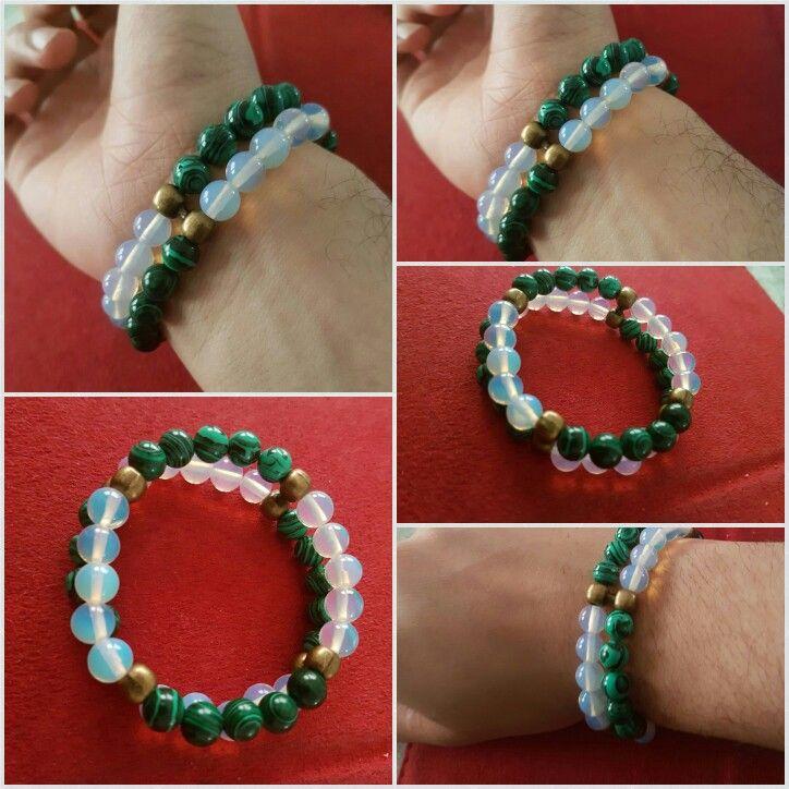 Malachite  and opalite  bracelet