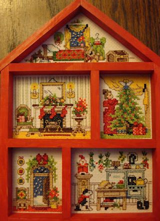 Christmas House Hutch Designer: Jorja Hernandez Bucilla kit #33388, c1994 Stitch count: 88w x 123h Size: 7 in x 10 in Th...
