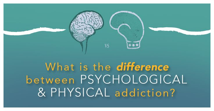 the difference and similarity between physical and psychological addictions Drug addiction is a brain disease identified by components of physical and psychological dependence detoxification can result in the end of physical dependence, but the psychological component maintains a steadfast hold on the addict.