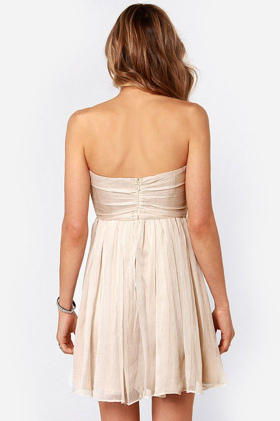 The Whole Package Strapless Beige Sequin Dress at LuLus.com!