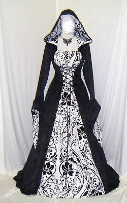 Medieval Gothic Renaissance wedding dress pagan Hooded