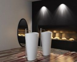 Lavabo colonne totem PB2175 - 60 x 37 x 90 cm  - blanc - Solid Stone acheter en ligne