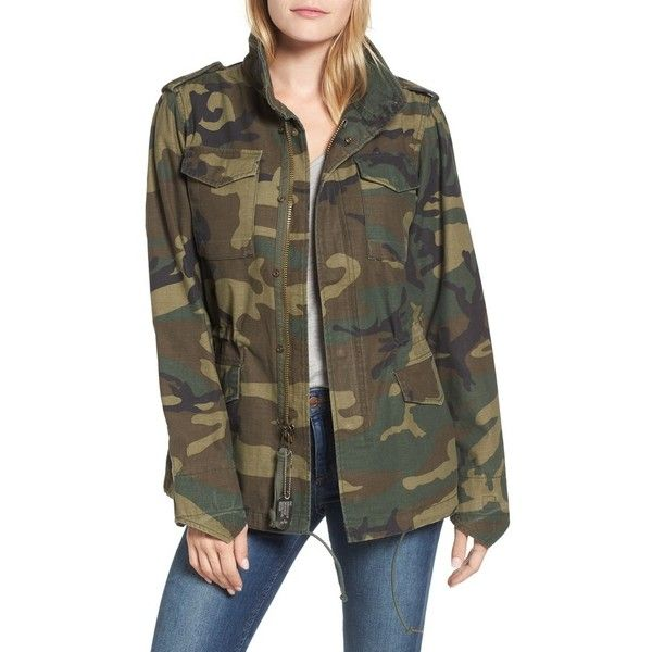 Women's Alpha Industries M-65 Defender Camo Field Jacket (580 PEN) ❤ liked on Polyvore featuring outerwear, jackets, woodland camo, military jackets, alpha industries jacket, hooded field jacket, field jackets and army camo jacket
