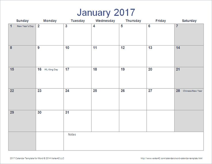 2017 calendar word document