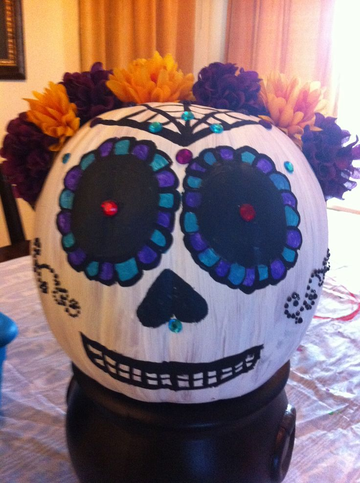 Sugar Skull Pumpkin | October | Pinterest