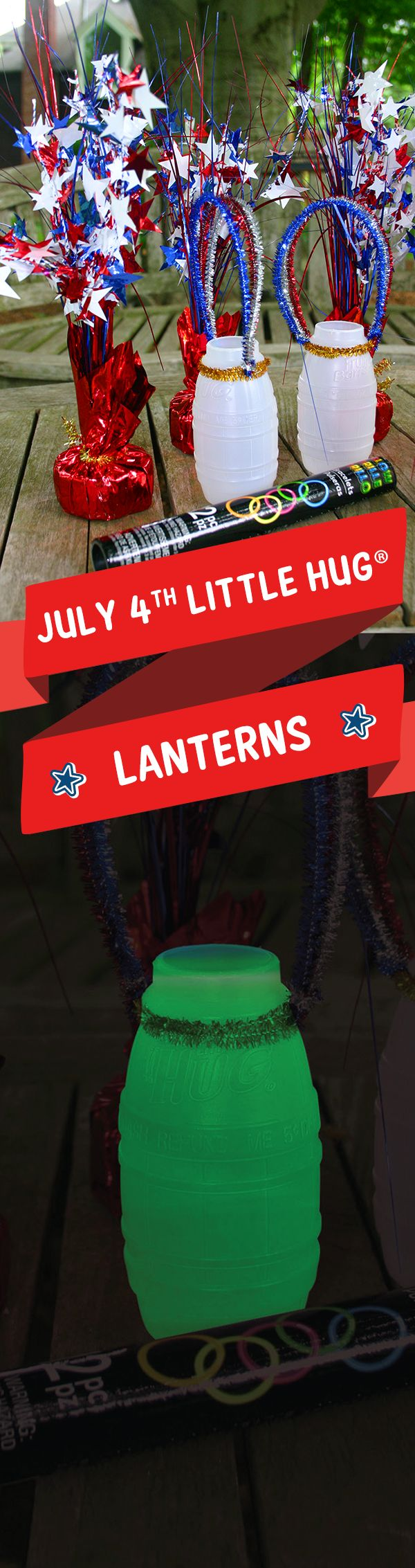 Wash and dry empty Little Hug Fruit Barrels®. Punch holes on opposite sides of the top and make handles from pipe cleaners. Place glow sticks inside the barrels. Use as July 4th table decorations, or let the kids carry them to your local fireworks display.