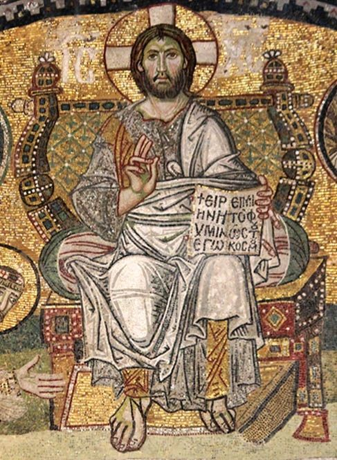 Christ Enthroned, Byzantine mosaic from the Narthex of Hagia Sophia, Istanbul