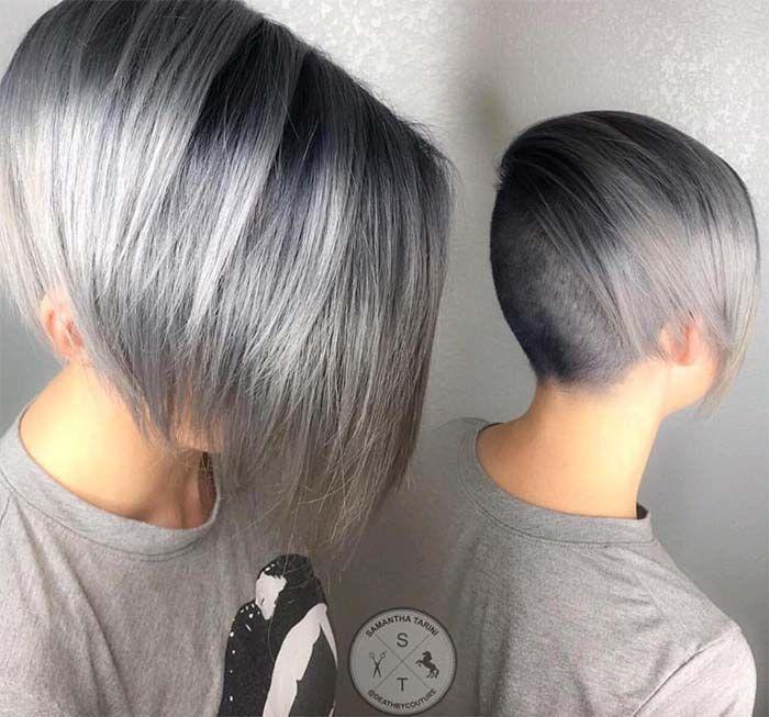 Granny Silver/ Grey Hair Color Ideas: Grey Undercut Short Hair