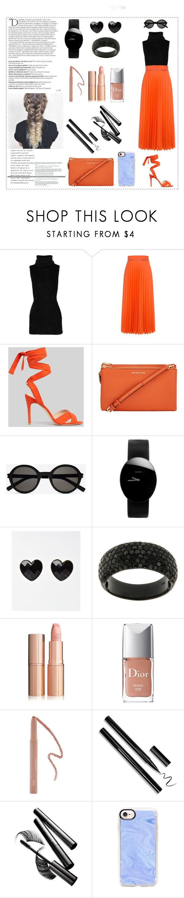"""Something Orange"" by danielle-valentine-666 ❤ liked on Polyvore featuring Rick Owens, Karen Walker, New Look, Balmain, Yves Saint Laurent, Rado, Christian Dior, Forever 21, Chantecaille and Casetify"