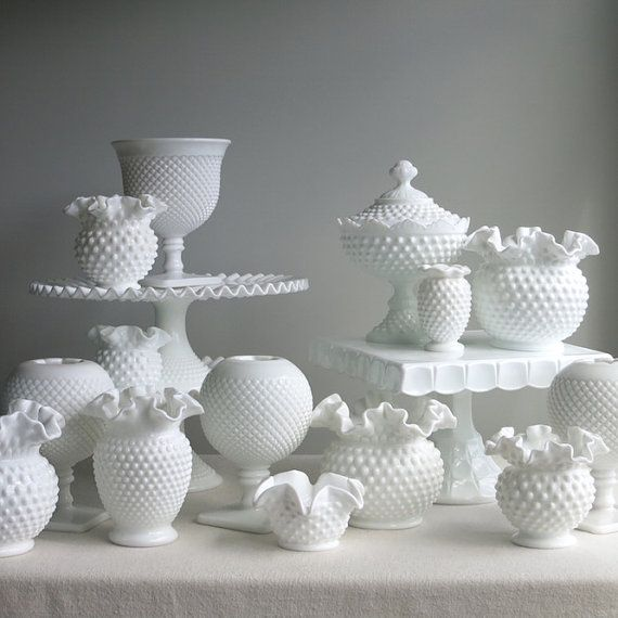 Vintage Hobnail Milk Glass Wedding Cake by BarkingSandsVintage