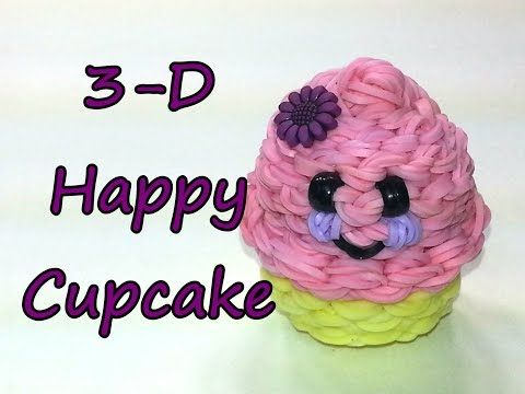 3-D Happy Cupcake Tutorial (Rainbow Loom). Omg so cute. Can't contain the cuteness.