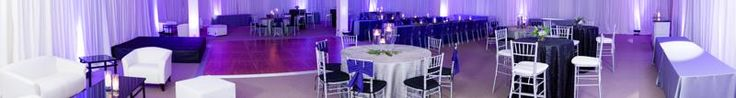 A Panoramic View of cozy event utilizing our chiavari chair, flooring, and table rentals.
