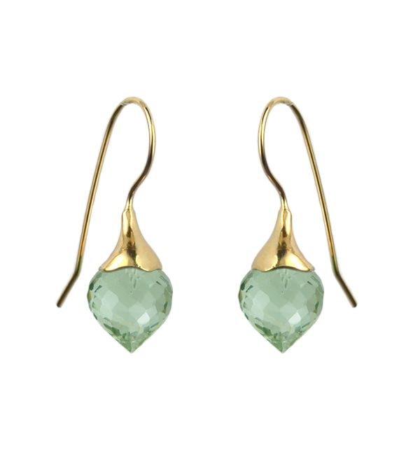 Mounir 22ct yellow gold vermeil pendant with Green Amethyst faceted stones. Retailing at £115. http://www.mounir.co.uk/index.php?route=product/product&path=60_86&product_id=897 #Mounir #jewellery #vermeil #earrings #fishhookearrings #dropearrings #greenamethyst