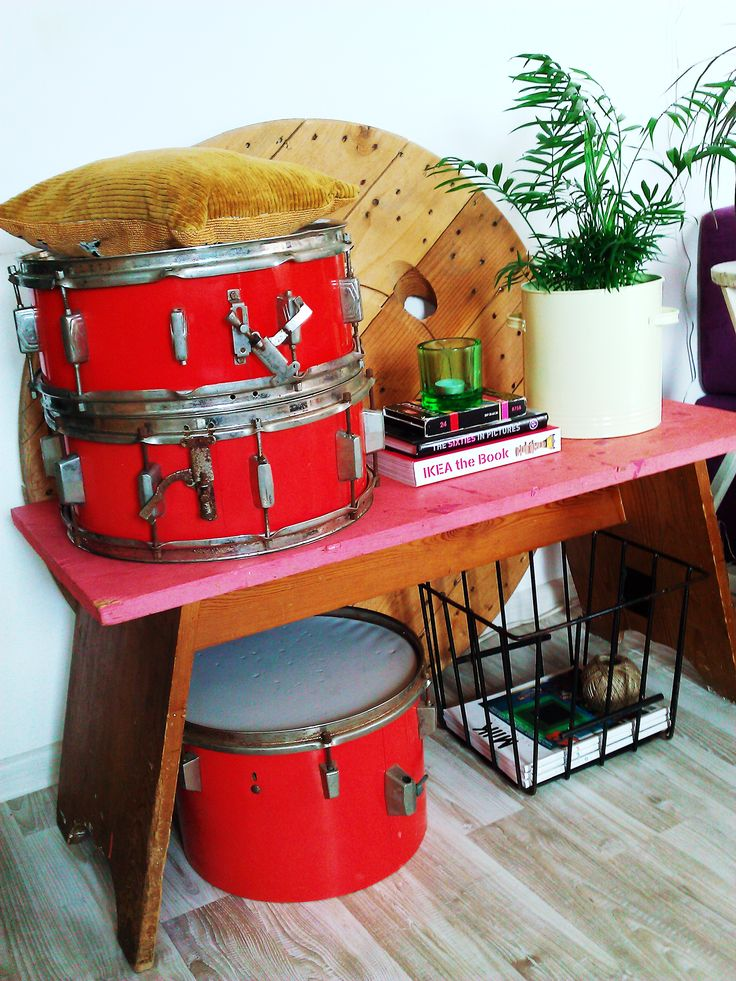 Vintage bench, industrial drums, plants and basket- all found for free! :-D