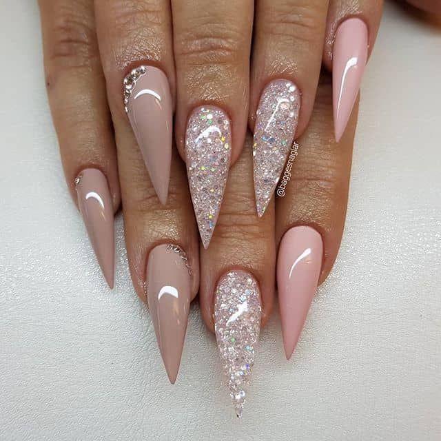 Pretty Nail Art Idea For Stiletto Nails Ideas De Unas Stiletto Nails Designs Swarovski Nails Rhinestone Nails