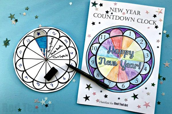 2020 Countdown Clock Printable For New Year S Eve Red Ted Art Make Crafting With Kids Easy Fun New Year S Eve Crafts New Years Countdown Clock Printable