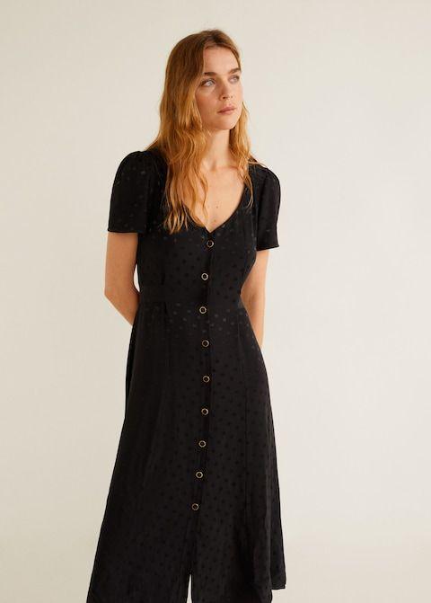 f625a6366f Sukienka żakardowa w grochy - Sukienki dla Kobieta