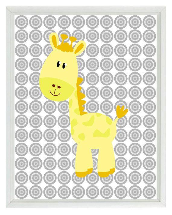 Yellow Gray Nursery Giraffe Safari Wall Art