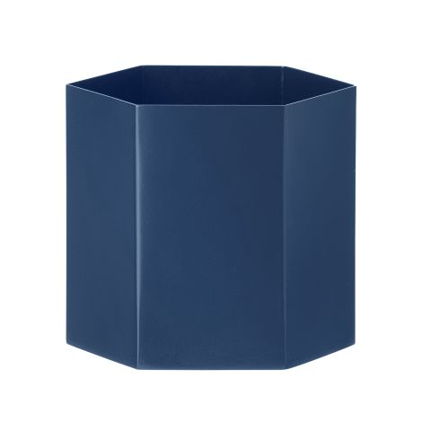 Hexagon flower pot blue