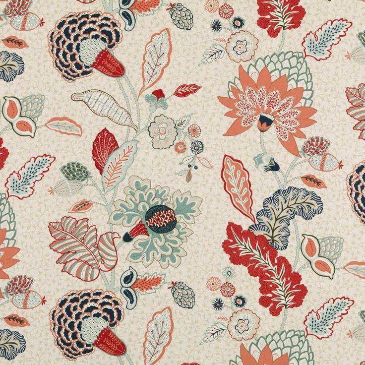 Pattern #:21085-223 Pattern Name: CHILVERS, MINT/RED Book #2937 : Tilton Fenwick Prints Book #2934 - Lipstick, Poppy: Tilton Fenwick Collect...