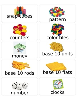 These labels are designed for the Envision math program.  They can be used to label all of the items in the Envision manipulatives packet.  The lab...