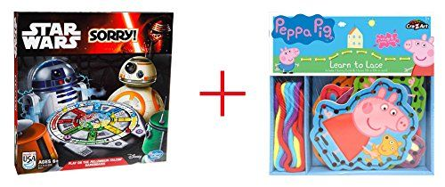 Sorry Star Wars Edition Game and Peppa Pig Learn to Lace Craft Kit  Bundle >>> Read more  at the image link.