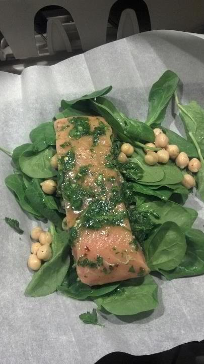 Parchment Wrapped Salmon with Chickpeas, Spinach, and Parsley Rub