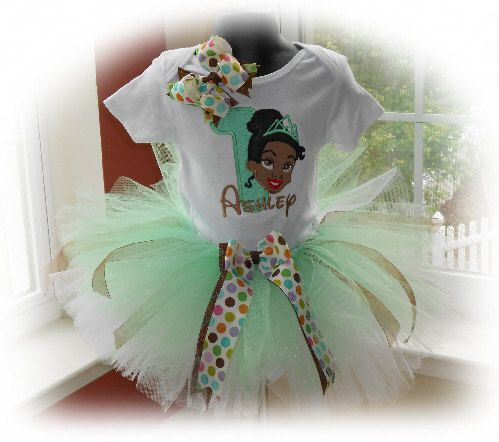 Personalized Disney Princess Tiana Birthday Tutu by EmbroideryStar
