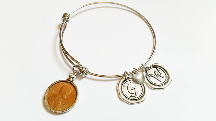 50th Anniversary gift 1967 US Penny Bracelet Expandable Bangle with initial charm Coin Jewelry by TheBrightPenny on Etsy https://www.etsy.com/listing/552800511/50th-anniversary-gift-1967-us-penny