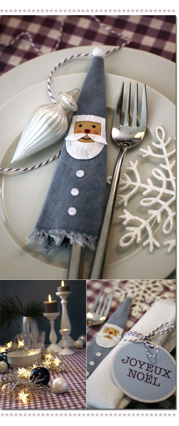 Denim Cutlery Holder • Gives a festive look to the Christmas dinner table. The pattern is provided but no instructions.
