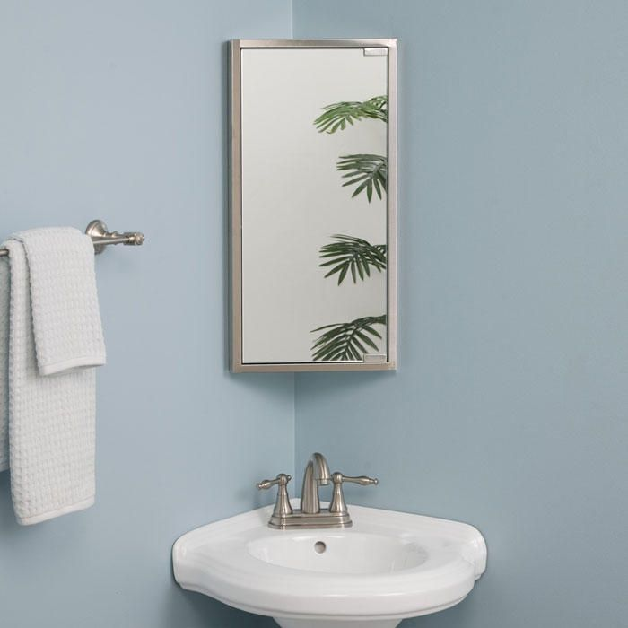Kugler Stainless Steel Corner Medicine Cabinet In Brushed Stainless Steel Signature Hard Corner Medicine Cabinet Bathroom Corner Cabinet Mirror Wall Bathroom