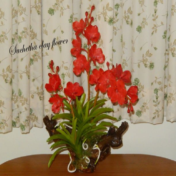 Vanda orchid flowers.(Clay flowers). https://www.facebook.com/suchethaclay?ref=hl