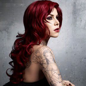 kat: Girls Crushes, Hair Colors, Red Hair, Kat Von D, Shades Of Red, Katvond, Hair Makeup, Faces Tattoo, Red Black
