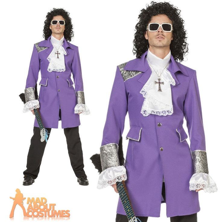 Adult Purple Rain Prince Costume Roger Nelson 80s Pop Star Fancy Dress Outfit