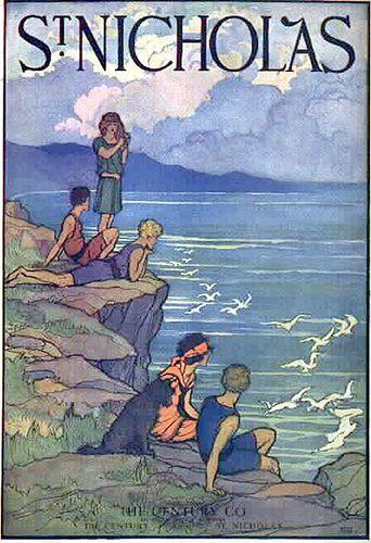 Vintage St. Nicholas Magazine Cover—Kids on Rocks at the Shore, via finsbry