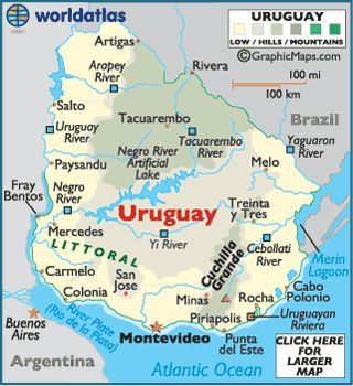 Map of Uruguay - Montevideo, South American Countries, Uruguay Map Facts History - World Atlas....smooth and undulating