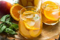 Homemade perzik sinaasappel ice tea - peach orange iced tea - Zoetrecepten