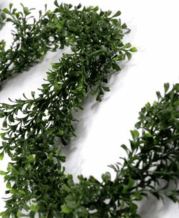 Artificial Boxwood Garland 9ft $10 to mix with magnolia leaf garland and magnolia flowers