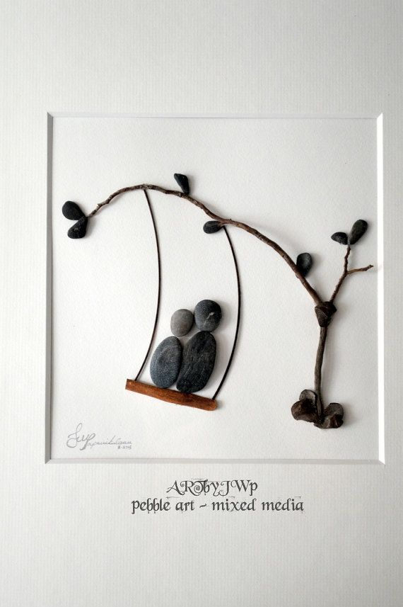 Unique Pebble Art  Couple In A Swing by ARTbyJWP on Etsy