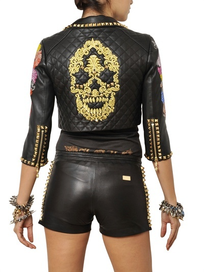 PHILIPP PLEIN - EMBROIDERED NAPPA LEATHER BOLERO JACKET - LUISAVIAROMA - LUXURY SHOPPING WORLDWIDE SHIPPING - FLORENCE