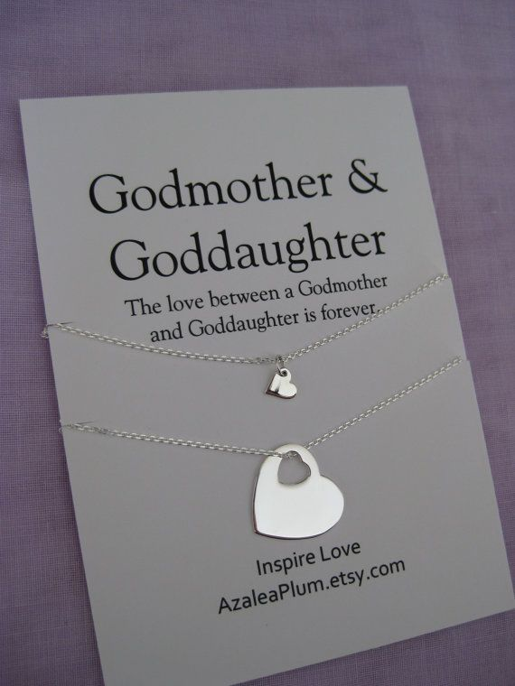 GODMOTHER Necklace // Goddaughter Jewelry // Goddaughter Godmother Gift // Baptism // Gift for Godmother // Godchildren   All Sterling ---set of 2---