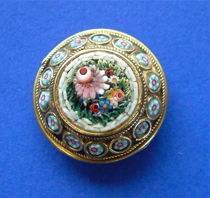 A Magnificent Antique Micro Mosaic Floral Button Set in Brass, 18mm