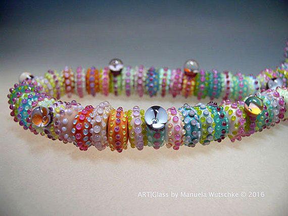 Halskette Glas Lampwork Künstler bunte handmade von manuelawutschke