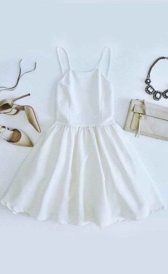 Spaghetti Prom Dress,White Prom Dress,Mini Prom Dress,Fashion Homecomig
