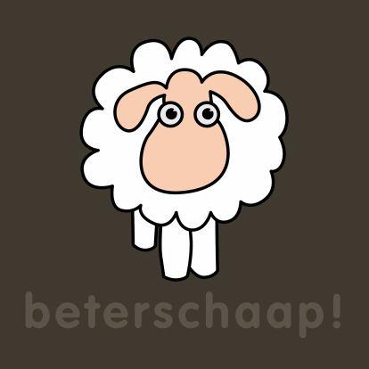 Een beterschapskaart met taalgrapje. Kenmerken: schaap, beterschap, beterschaap, ziek, beter, niet lekker, vel.