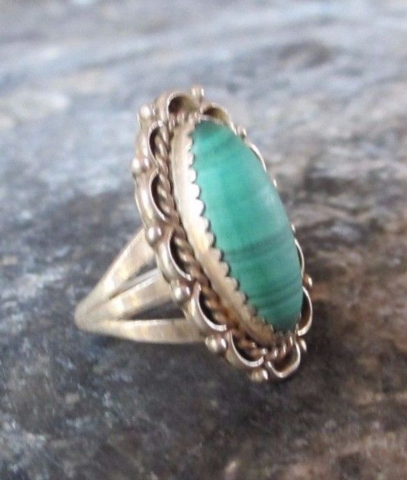 Vintage Sterling Silver Handcrafted Southwestern Malachite Ring  #Unbranded