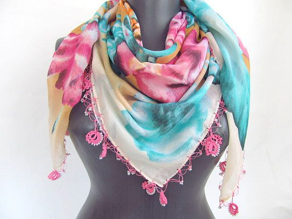 Rosescented scarf / Turkish scarf // square scarf // by ScarfsSale, $30.00